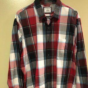 Express men's Plaid Button Down Shirt - XL